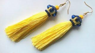 Cерьги кисточки фриволите иглой, анкарс. МК для начинающих. DIY Earrings tassels frivolite needle