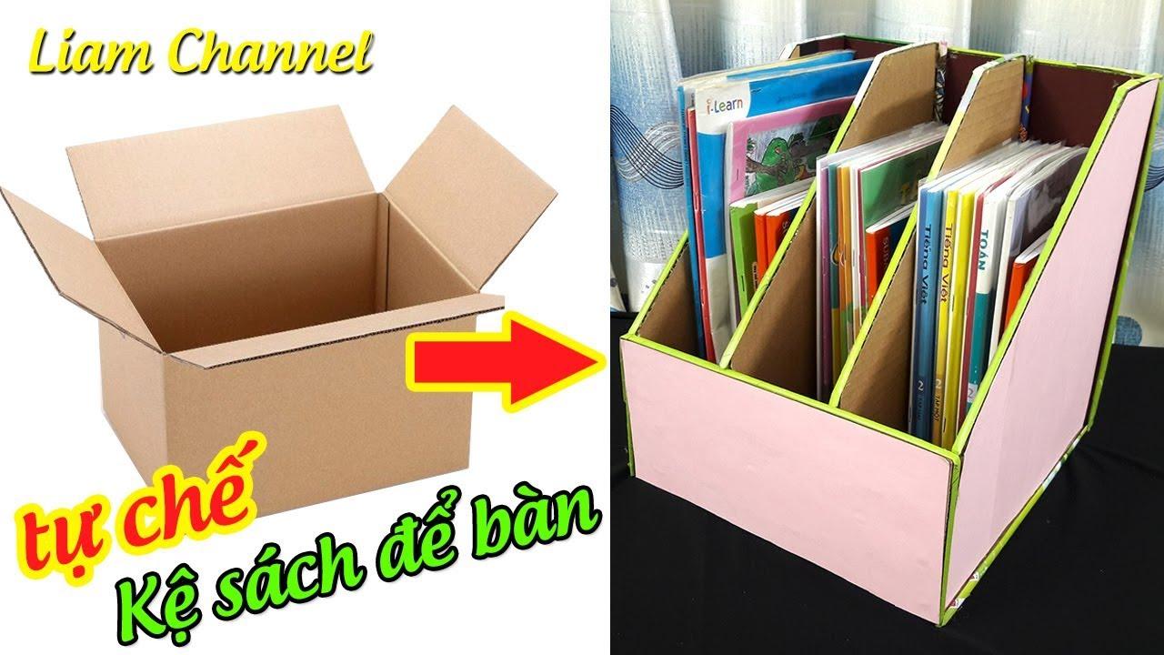 Tự làm kệ sách bằng thùng giấy carton rất dễ | DIY Desk Organizer|Back to School 2019 | Liam Channel
