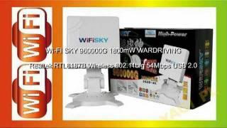 wifi sky 960000g 1800mw wardriving realtek rtl8187b wireless 802 11b g 54mbps usb 2 0