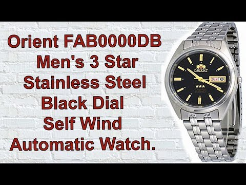 Orient FAB0000DB Men's 3 Star Stainless Steel Black Dial Self Wind Automatic Watch. Unboxing