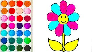 Coloring with Flower for Baby, Children's Coloring Pages for Babies