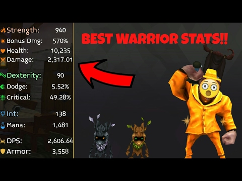THE BEST WARRIOR STATS EVER!! Arcane Legends! (My Gear)