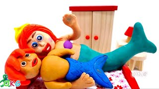 newborn baby mermaid play doh stop motion animation claymation video