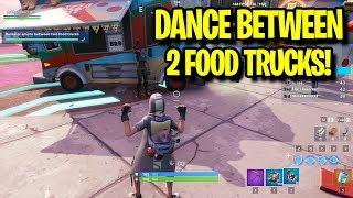 Fortnite Dance/Emote between 2 food trucks - Downtown Drop Challenges