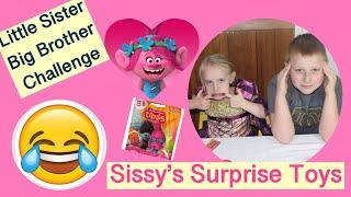 Sissy feeding Big Brother Mystery Food Trolls blind bag opening fun