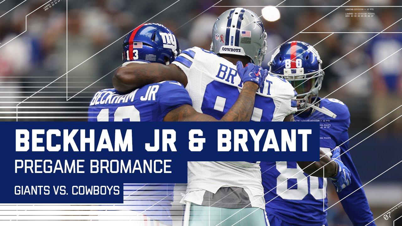 Odell Beckham Jr Dez Bryant Have A Catch During Pregame Giants Vs Cowboys