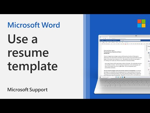 How To Use The Resume Template In Word | Microsoft