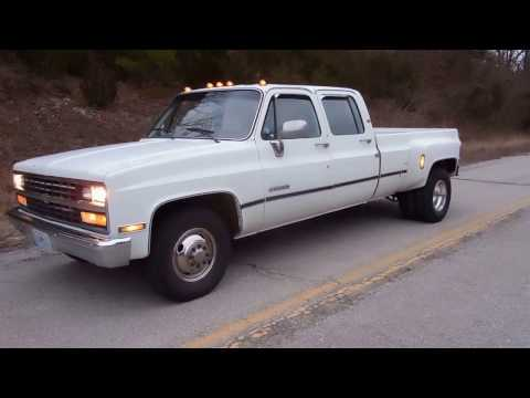 1989 Chevrolet R3500 1 Ton Crew Cab Dually Start Up - YouTube