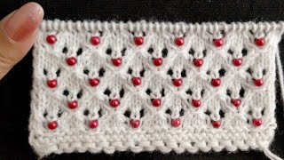 Beaded Openwork Knitting Pattern. for Baby Set, Cardigan, Stoles, Scarves, Table Mats, Cushions