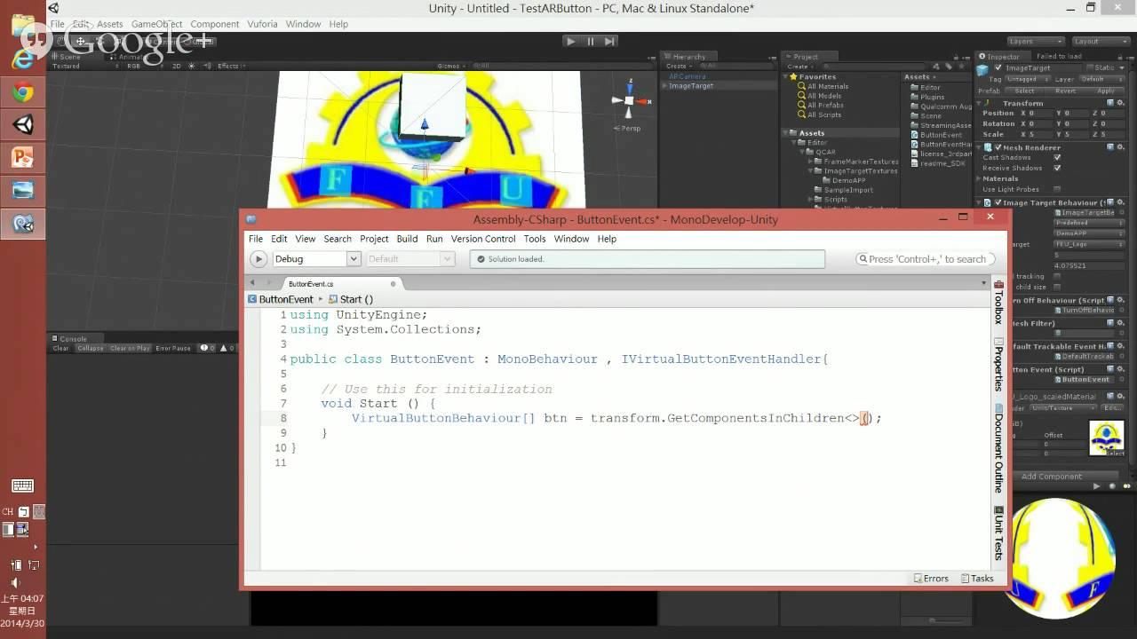 Unity AR Vuforia 擴增實境 虛擬按鈕 觸發 事件 - YouTube
