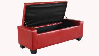 Homcom Faux Leather Storage Ottoman / Shoe Bench - Red
