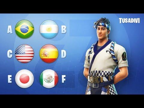 ADIVINA LA NACIONALIDAD (SKINS Y BAILES) - FORTNITE CHALLENGE | tusadivi