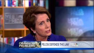 Repeat youtube video Pelosi taken apart by David Gregory on false Obamacare promises