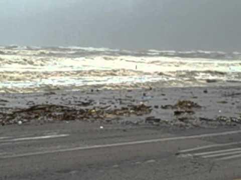 Galveston seawall just after Hurricane Ike came ashore.