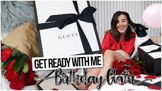 GRWM BIRTHDAY GLAM MAKEUP + SURPRISE PRESENT!   MakeupByAmarie