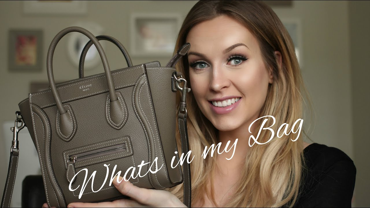 WHATS IN MY BAG - CELINE NANO LUGGAGE TOTE REVIEW - YouTube dbf761271c464