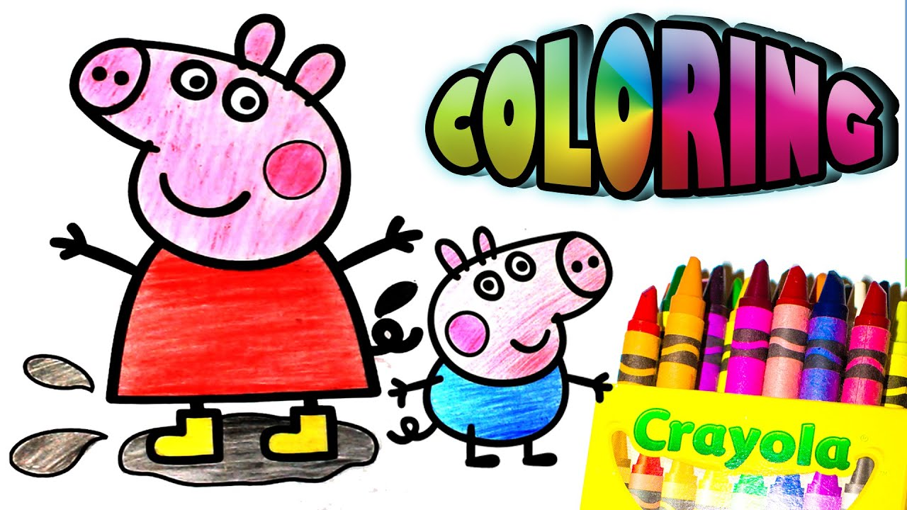 Coloring Peppa PigGeorgeMummy Pig and Daddy Pig with Crayon