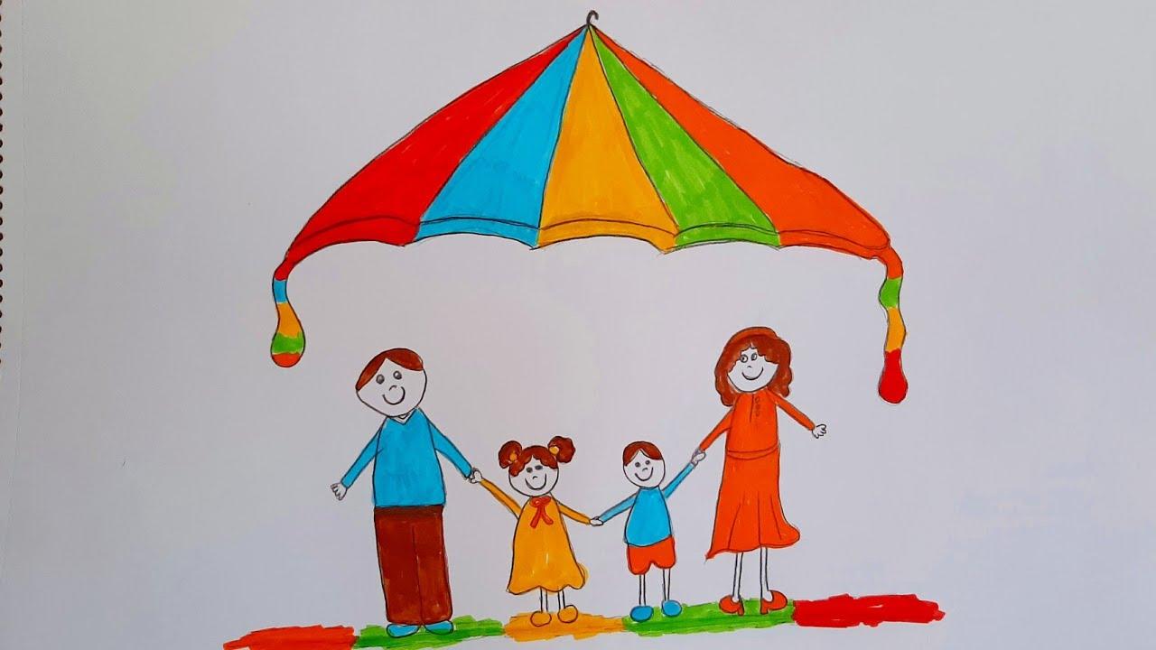 Mutlu Aile Çizimi🌈Bayram Resmi Çizimi🍭