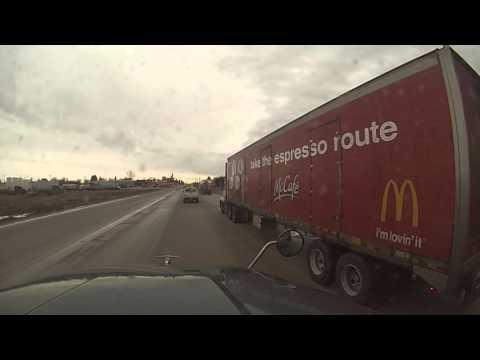 Driving semitruck on Hwy 2 in North Dakota