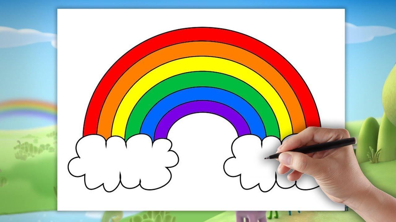 Tęcza - Jak narysować tęcze - Rysowanie dla dzieci krok po kroku ...