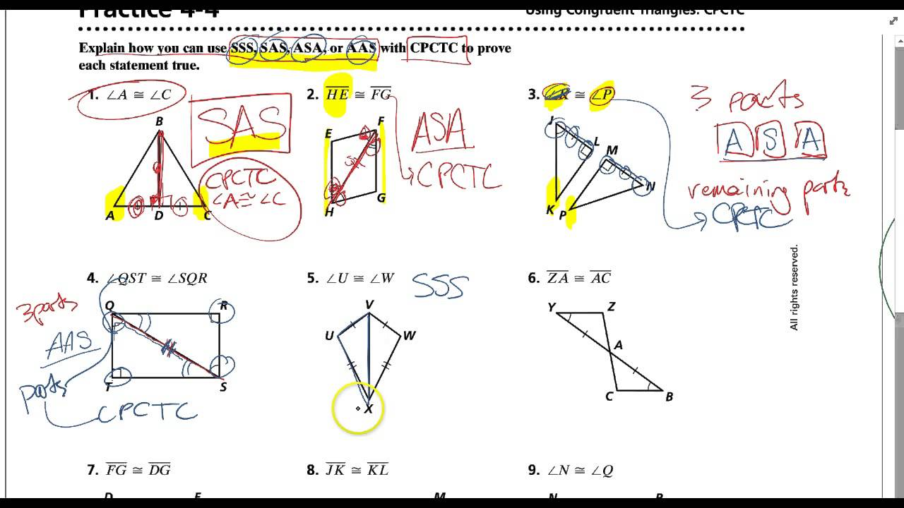 Practice 44 YouTube – Geometry Worksheet Congruent Triangles Answers