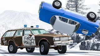 Crazy Police Pit Maneuver & Crashes #1 - BeamNG DRIVE
