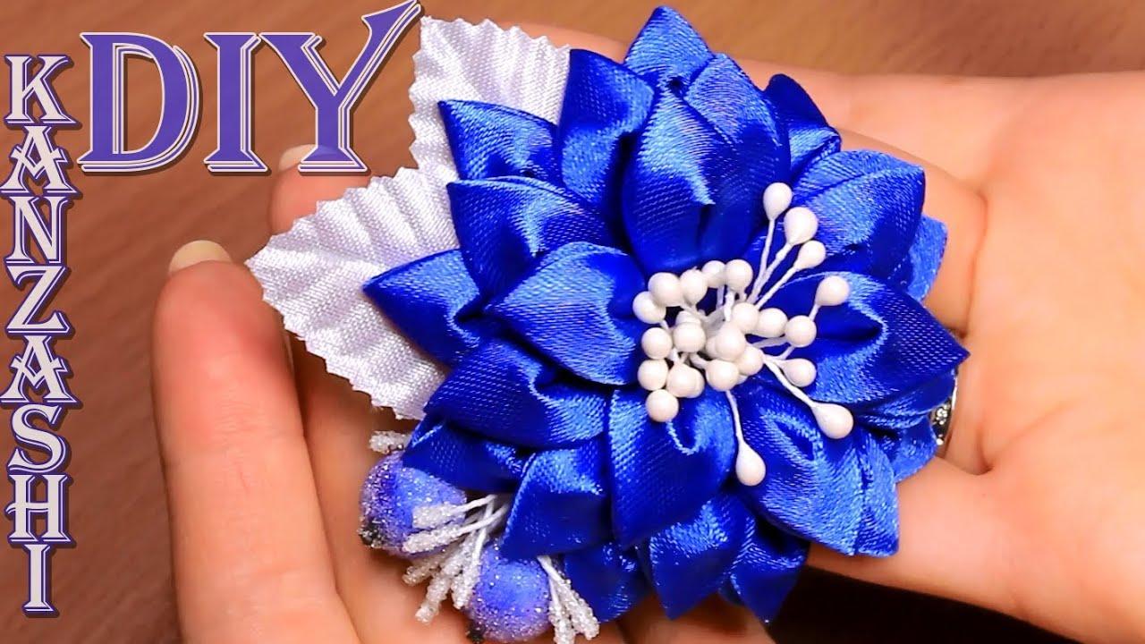 Фото цветка канзаши синего
