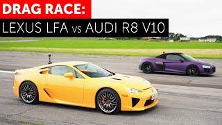 DRAG RACE Lexus LFA vs Audi R8 V10 Spyder. AMAZING V10 NOISE!