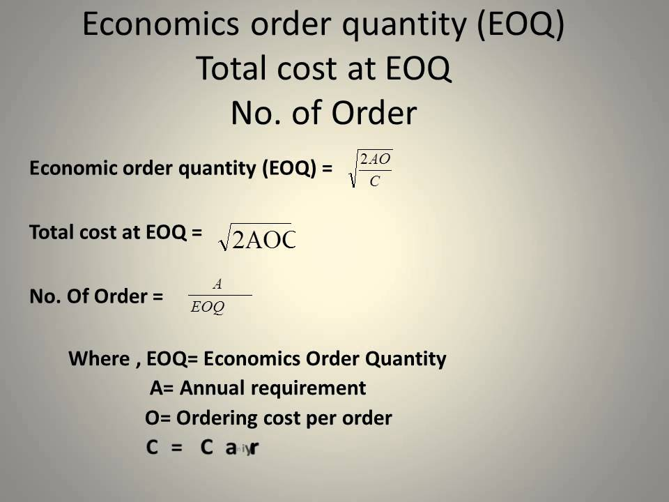 solved questions on batching and eoq Batching economies or cycle stocks usually arise from three sources—procurement, production, and/or transportation scale economies are often associated with all three, which can result in the accumulation of inventory that will not be used or sold immediately.