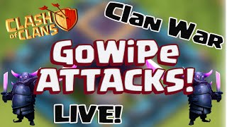 "Clash of Clans: ""Live GoWiPe in Clan Wars!"" Epic Clash Attacks"