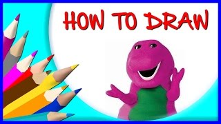 How to Draw Barney Cartoon Character - Mascot character