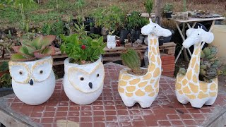 Vaso Girafa E Vaso Coruja De Cimento Com Garrafa Pet