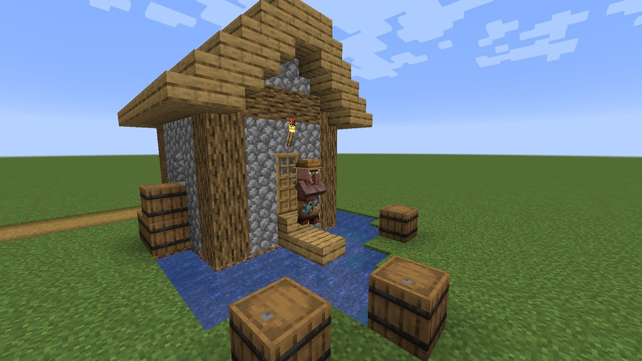 How To Build A Minecraft Village Fisher Cottage 1 14 Plains Youtube
