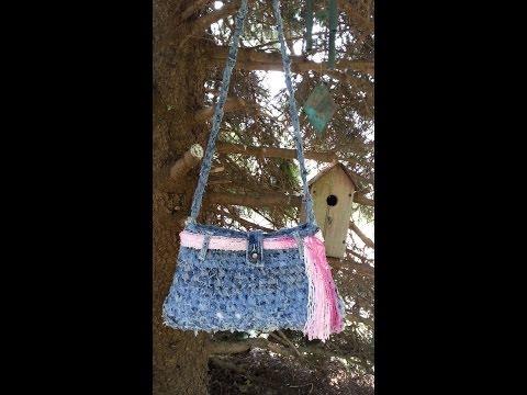 CROCHET How To #Crochet Handbag Purse From Recycled Old Blue Jeans #TUTORIAL #69 LEARN CROCHET DYI