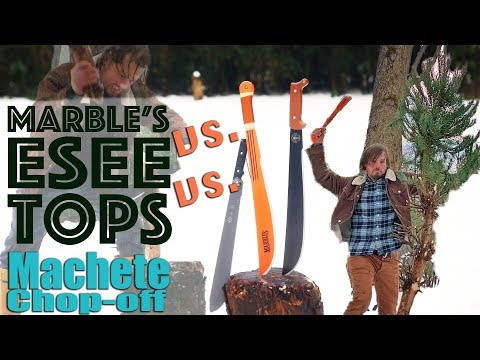 3 Popular Machetes Used Tested And Compared.  A $20 Marbles, $60 Esee Lite, And $100 Tops .230