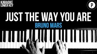 Bruno Mars - Just The Way You Are Karaoke SLOWER Acoustic Piano Instrumental Cover Lyrics LOWER KEY