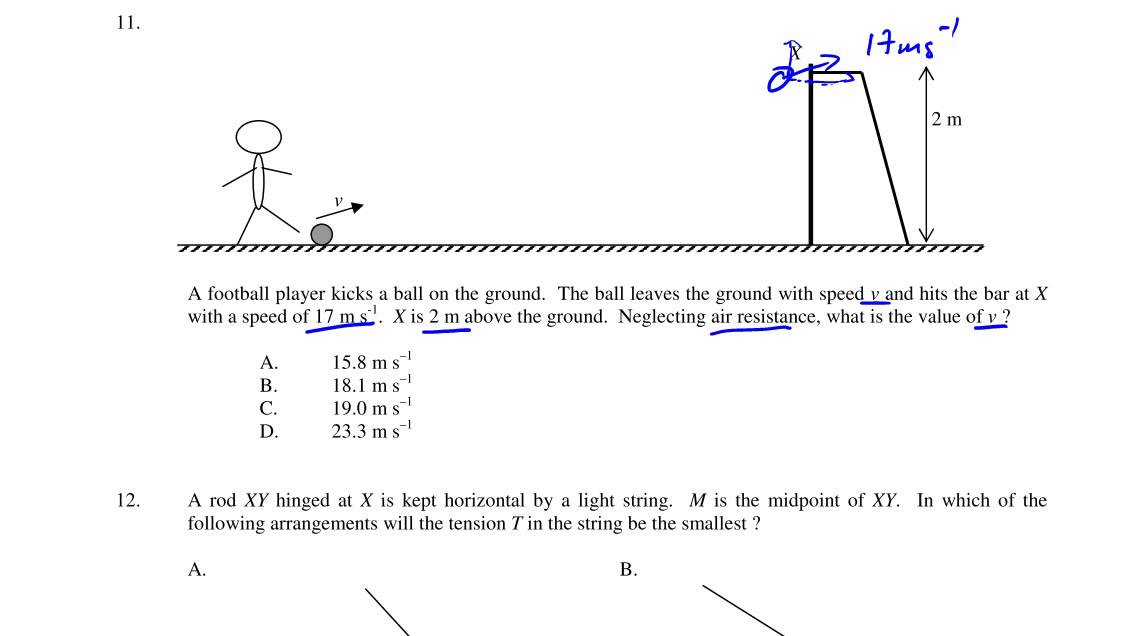 HKDSE Physics Practice Paper 1A Q11