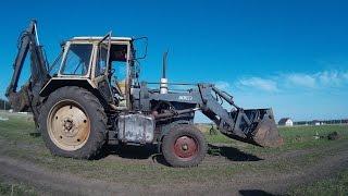 Трактор Беларусь копает траншею под фундамент (timelapse)