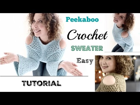 Easy cold shoulders/Peekaboo Crochet Sweater Tutorial