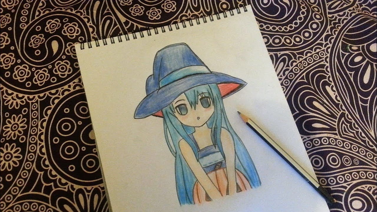 How To Draw Anime Girl In A Witch Costumehalloween Editionanime