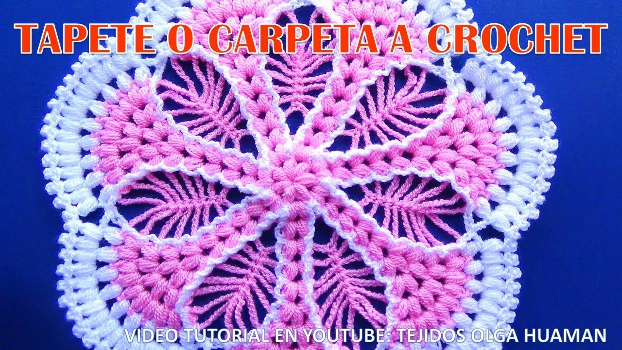 Tapete o carpeta a crochet paso a paso con puntos for Tapetes de crochet