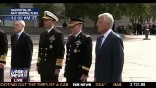 Defense Secretary Hagel Laying Wreath At U.S. Navy Memorial To Honor Victims of Navy Yard