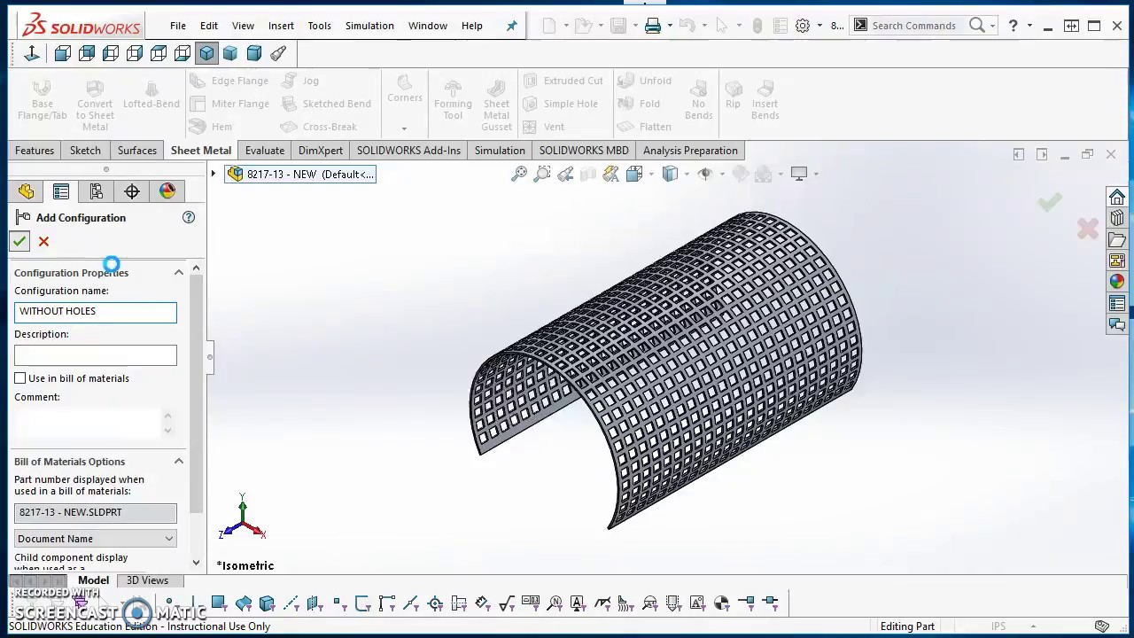 Base Flange And Fill Pattern In Solidworks 2017 Youtube