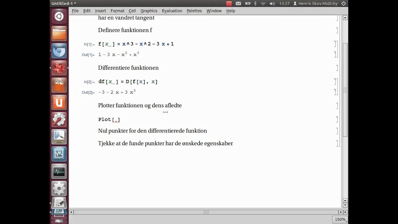 Find vandrette tangenter med Mathematica