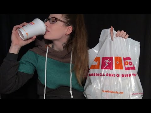 ASMR BINAURAL MUKBANG   Dunkin Donuts Breakfast Spread ☕️ 🍩