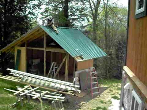 Last Piece Of Green Metal Roofing Onto My New Shed In
