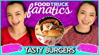 JUICY BURGER CHALLENGE | Food Truck Fanatics w/ The Merrell Twins