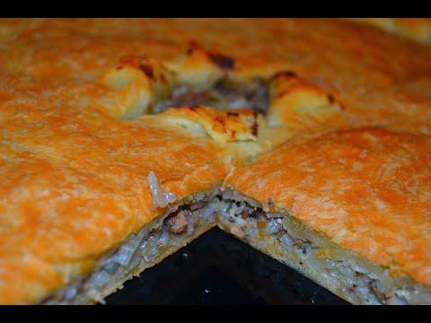 Пирог из рыбной консервы с рисом. Быстро и вкусно!