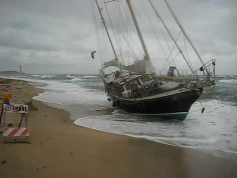 Shipwreck  55 ft Ketch Sailboat Washed Ashore Pompano