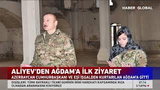 Aliyev ve Eşi Toz Toprağa Rağmen Ağdam Camii'ne Girerken Ayakkabılarını Çıkardı